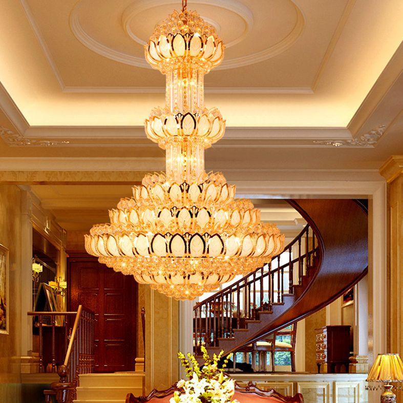 Gold Crystal Chandelier Lighting Fixture Led Crystal Chandeliers