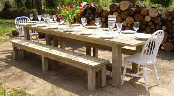 Weathered Reclaimed Wood Parsons Style Farmhouse Table Backyard