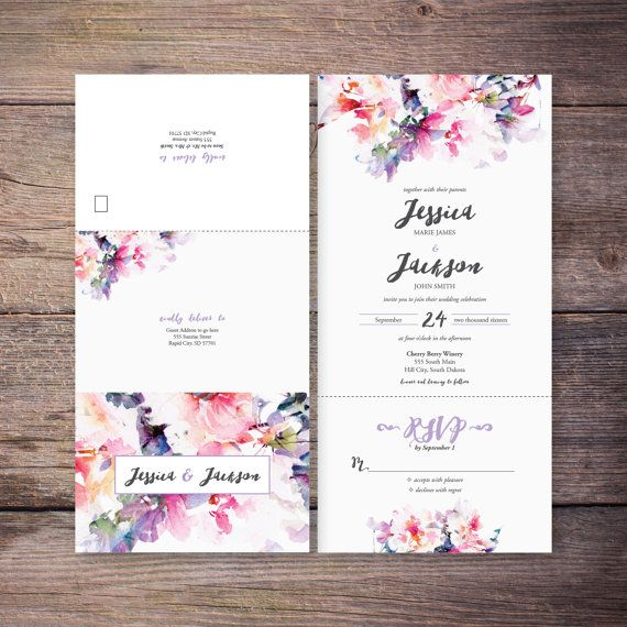 Printable Flower Watercolor Seal and Send Wedding Invite Pink