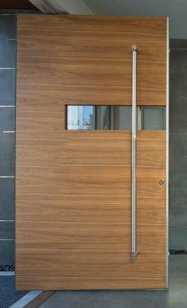 Horizontal Grain Stain Grade Entry Door with partial horizontal ...