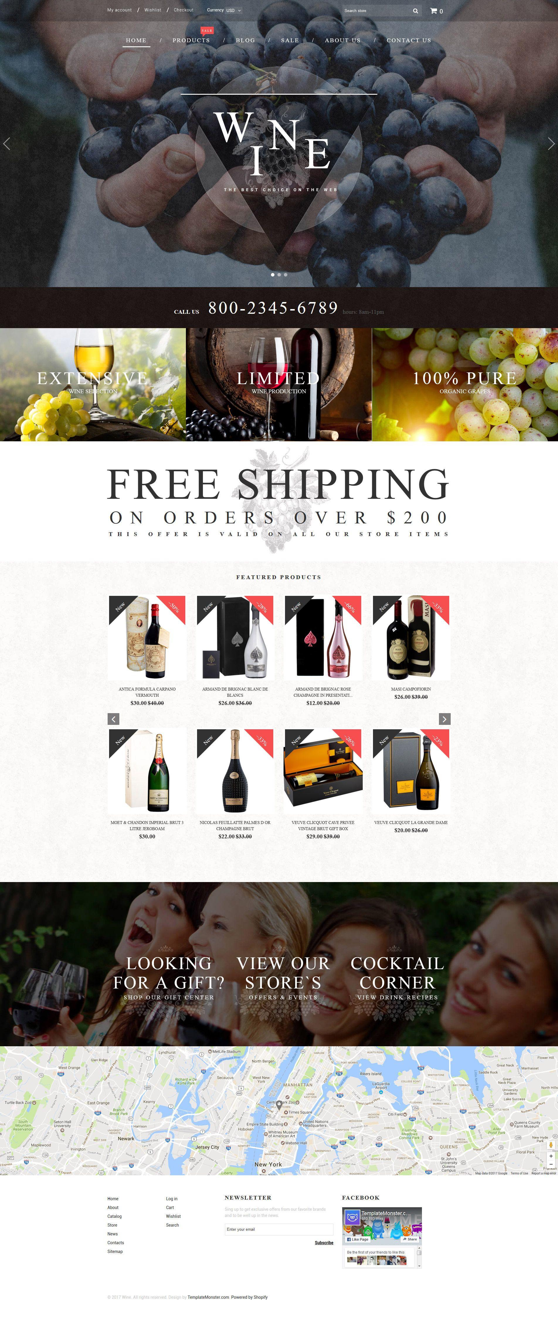 Wine - Wine Shop Responsive Shopify Theme | Pinterest | Website designs
