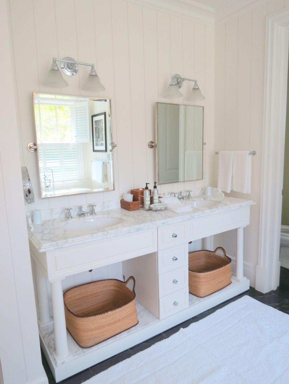 Elegant White Polished Wood Pottery Barn Bathroom Double