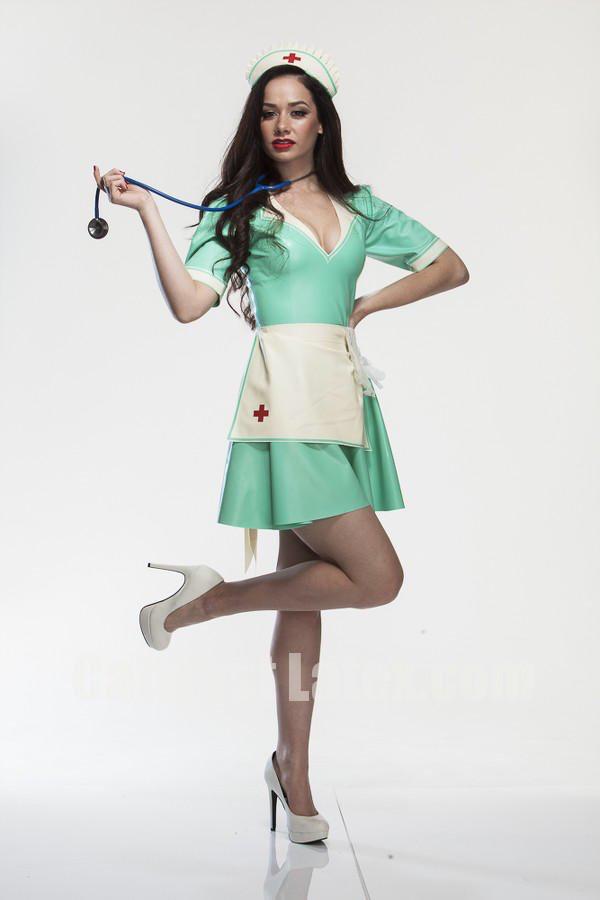 Latex Nurse Set Featuring Dress Apron And Hat Model Olivia Cianci Photography John Mcrea