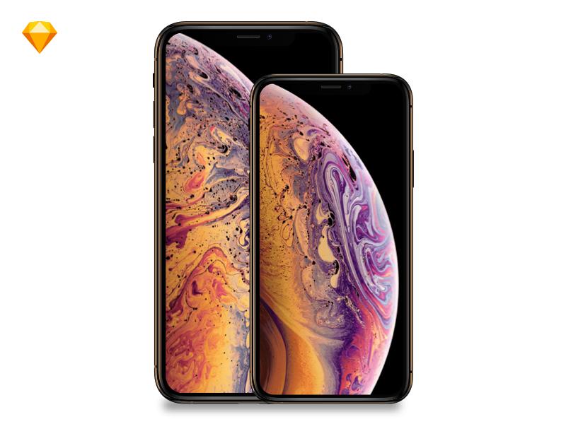 Apple Iphone Xs Iphonexsmax Mockup Free Sketch Free Iphone Free Mockup Mockup Free Download