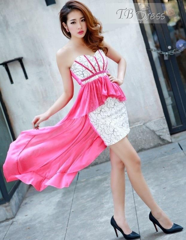 Rose Irregular Hem Strapless Dress