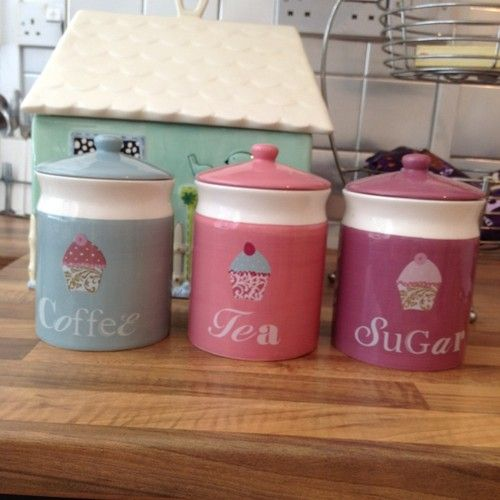 cupcake canisters for kitchen cupcake tea coffee sugar canisters by next cupcake kitchen decor 9705