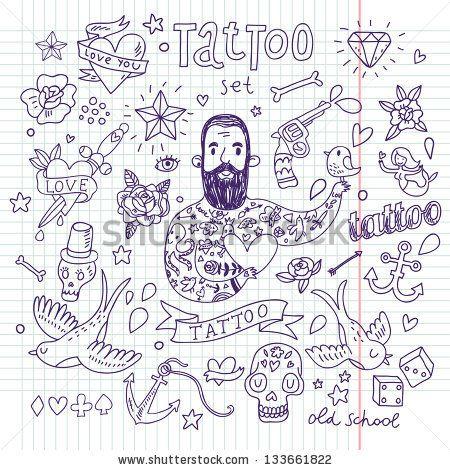 Tattoo vector set. Cartoon tattoo elements in funny style: anchor, dagger, skull, flower, star, heart, dices, bone, diamond, scull, pistol a...
