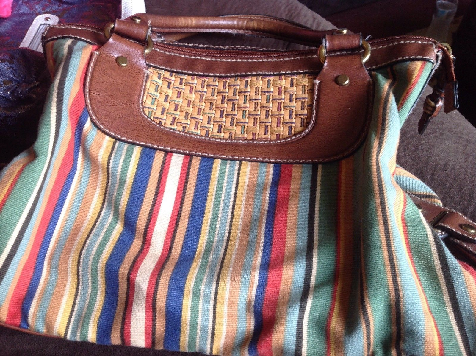 Fossil Modern Vintage Style Purse Canvas Straw Striped With Key Ebay