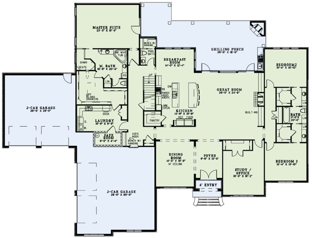 Main floor plan without the safe room bedrooms upstairs for Master on main floor plans