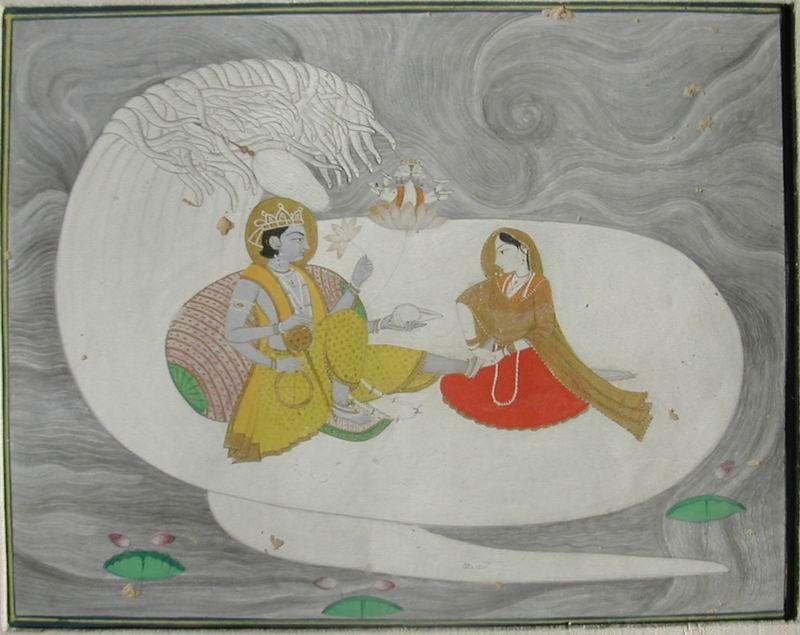 Indian Miniature paintings - Pahari Vishnu Sheshanaga