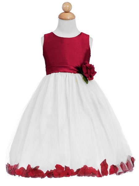 girl white Red and dresses flower