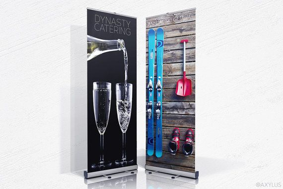 Rollup Banner Retractable Stand 33x80 Inches Custom Design And Printing 10mil Vinyl Rollup Banner Custom Design Prints