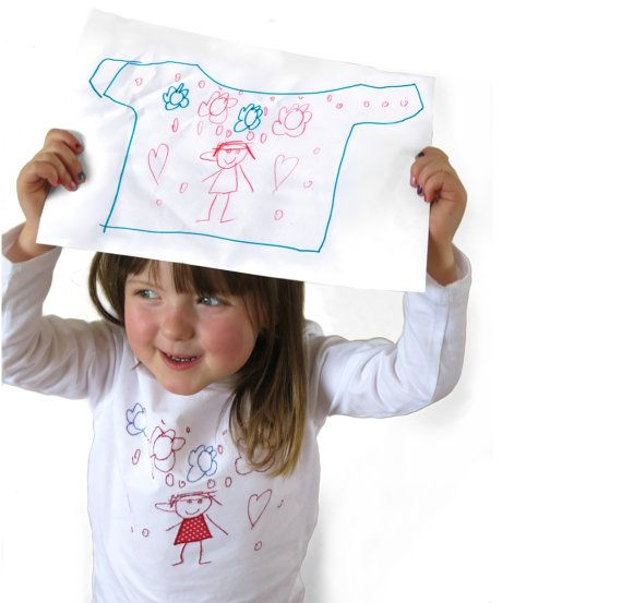 Childrens Drawing Embroidered T Shirt Kids Artwork