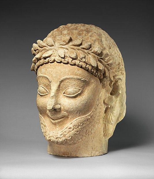 Limestone male head Period: Archaic Date: late 6th century B.C. Culture: Cypriot Medium: Limestone