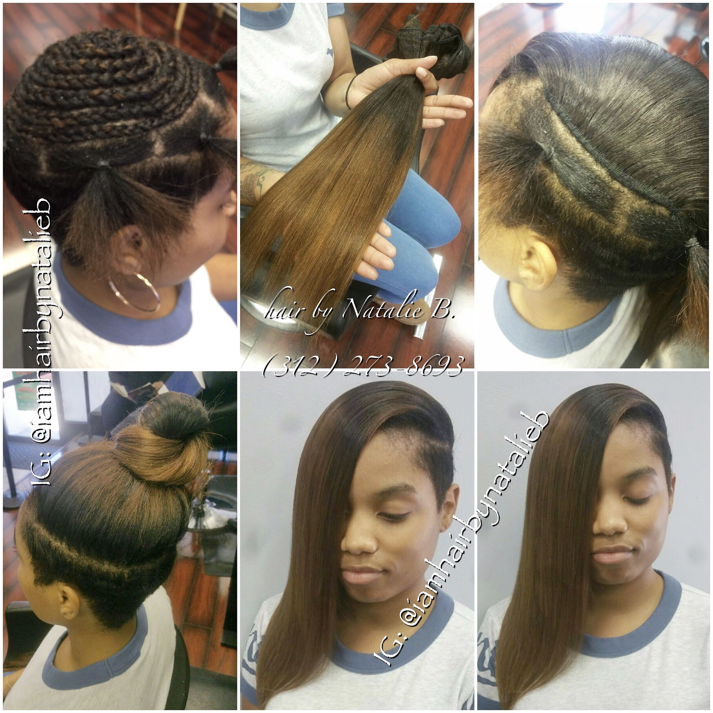 Natural-Looking, Versatile Sew-In Hair Weave On Client