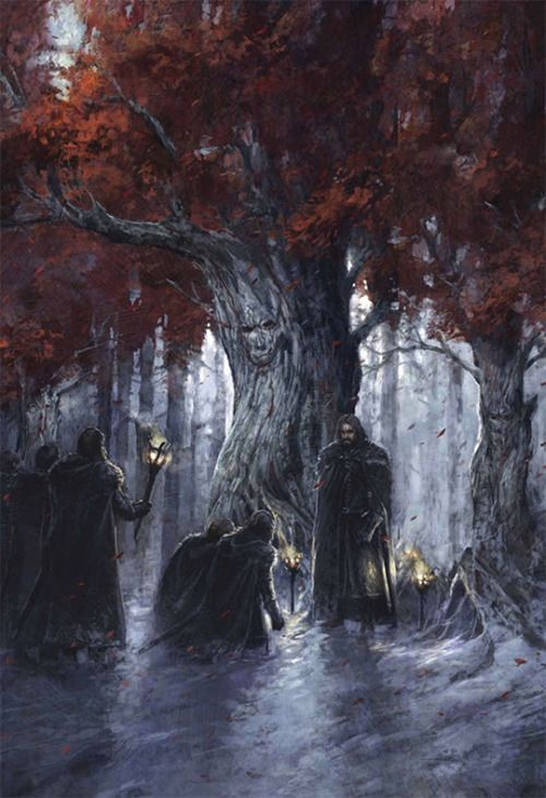 """A Game of Thrones: The Illustrated Edition: """"Taking the Black"""" by Didier Graffet """"""""Hear my words, and bear witness to my vow,"""" they recited, their voices filling the twilit grove. """"Night gathers, and now my watch begins. It shall not end until my..."""