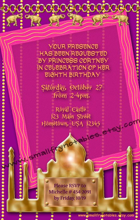 Girls Custom Arabian Princess Birthday Party Invitation By Www