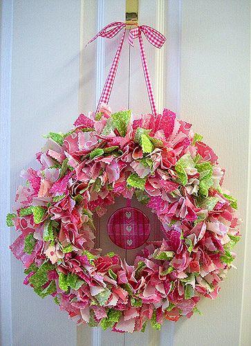 Photo of Pink & Green Fling Fabric Wreath