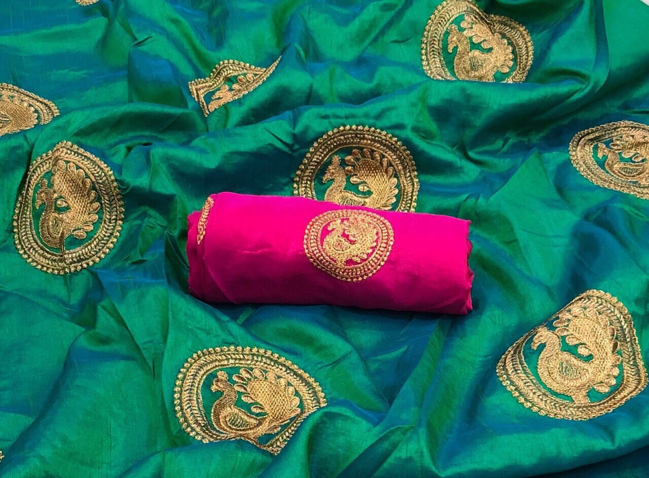 144e66bd4c6701 Green sana silk saree with contrast pink blouse is really stunning and at  best price ₹1299 @ jarataari whatsapp @ 8169043688