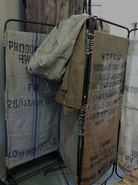 folding-screen of burlap sacks so cute