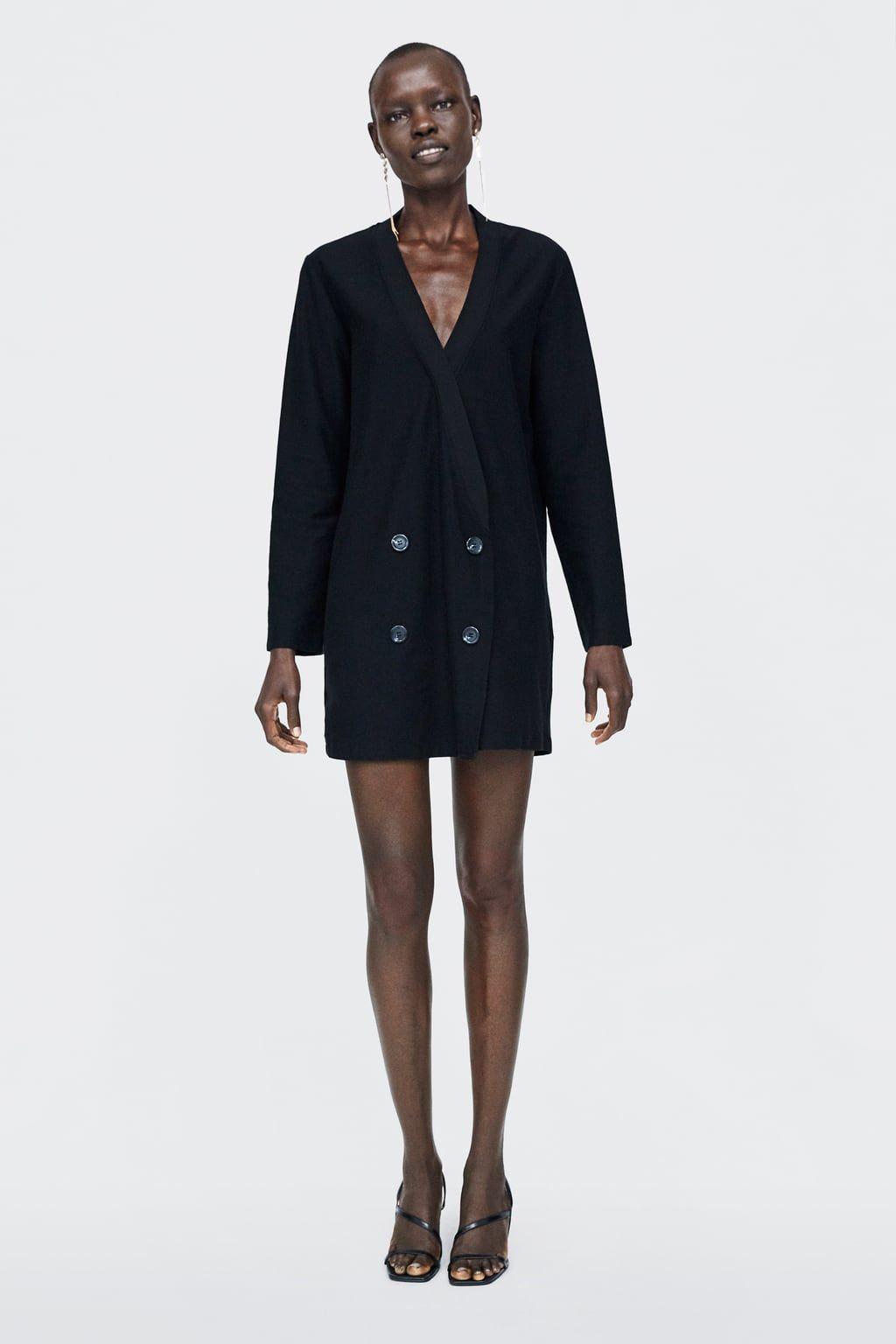 Vestido negro zara botones