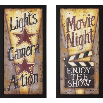 """Lights, Camera, Action!"" and Movie Night Framed Theater Wall Art Pair"