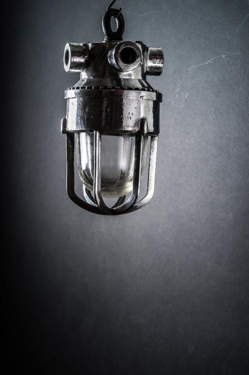Stripped Aluminium Caged Glass Pendant