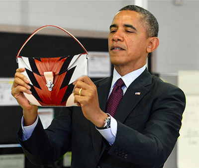 Obama is way into Vuitton's besace ronde bag.  We have so much in common.
