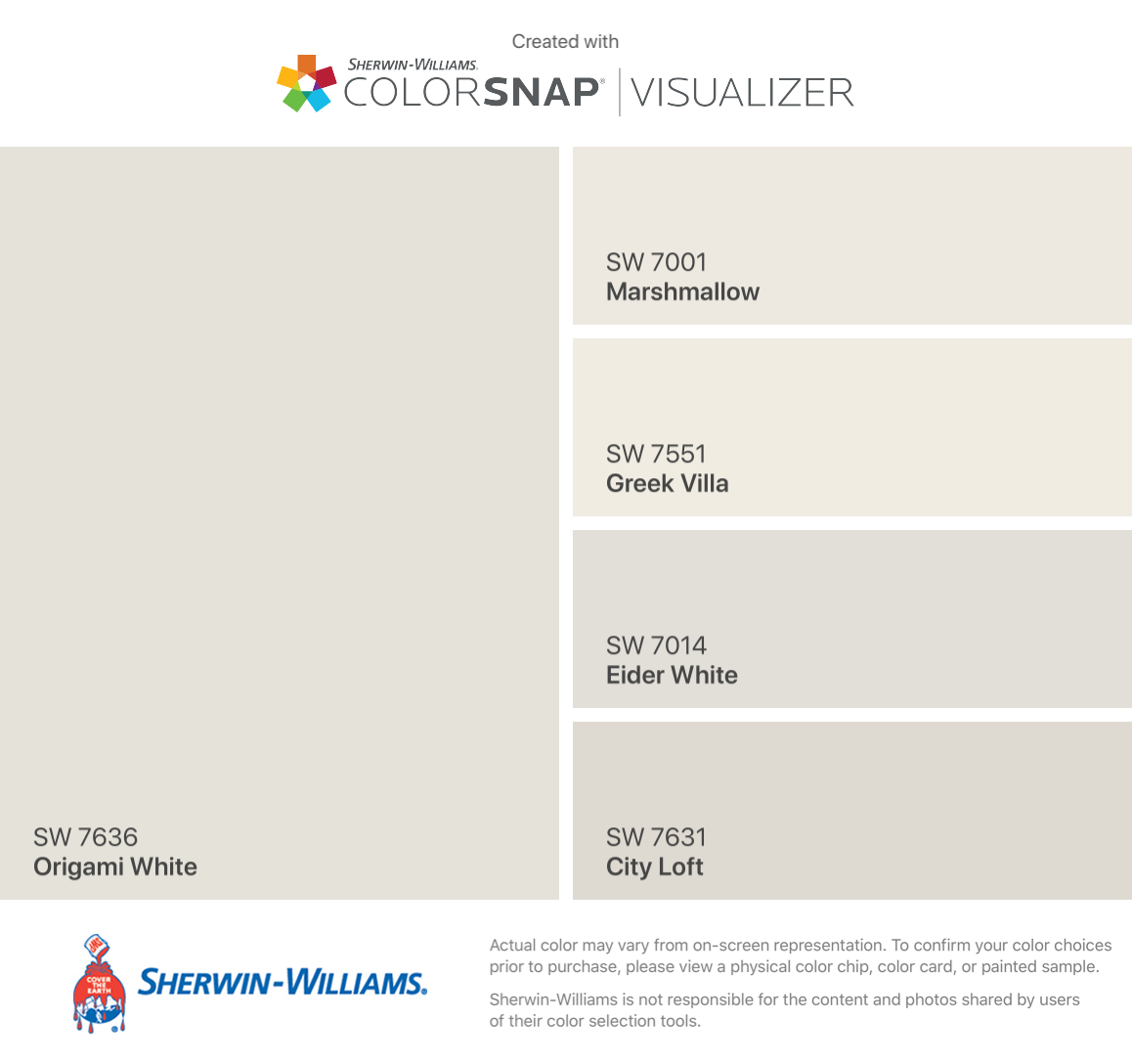 I found these colors with ColorSnap® Visualizer for iPhone by Sherwin-Williams: Origami White (SW 7636), Marshmallow (SW 7001), Greek Villa (SW 7551), Eider White (SW 7014), City Loft (SW 7631). #cityloftsherwinwilliams