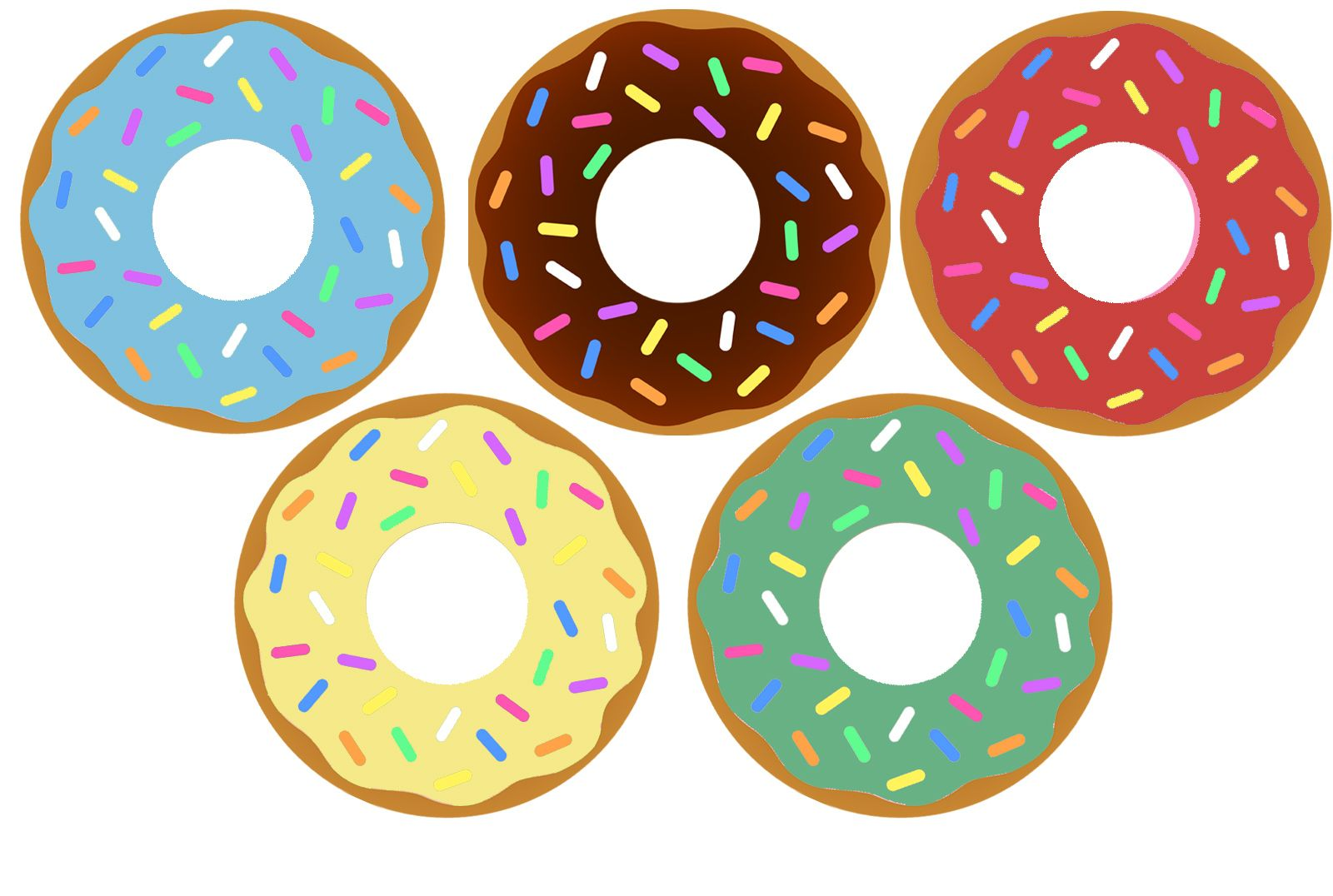 Donuts Yellow Blue Brown Red Green Sprinkles