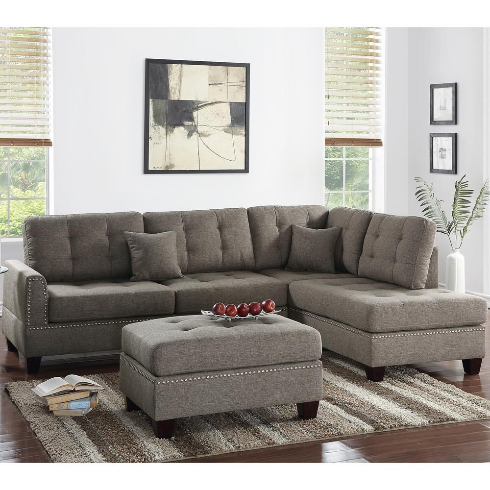 Venetian Worldwide Barcelona 3-Piece Coffee Sectional Sofa with ...