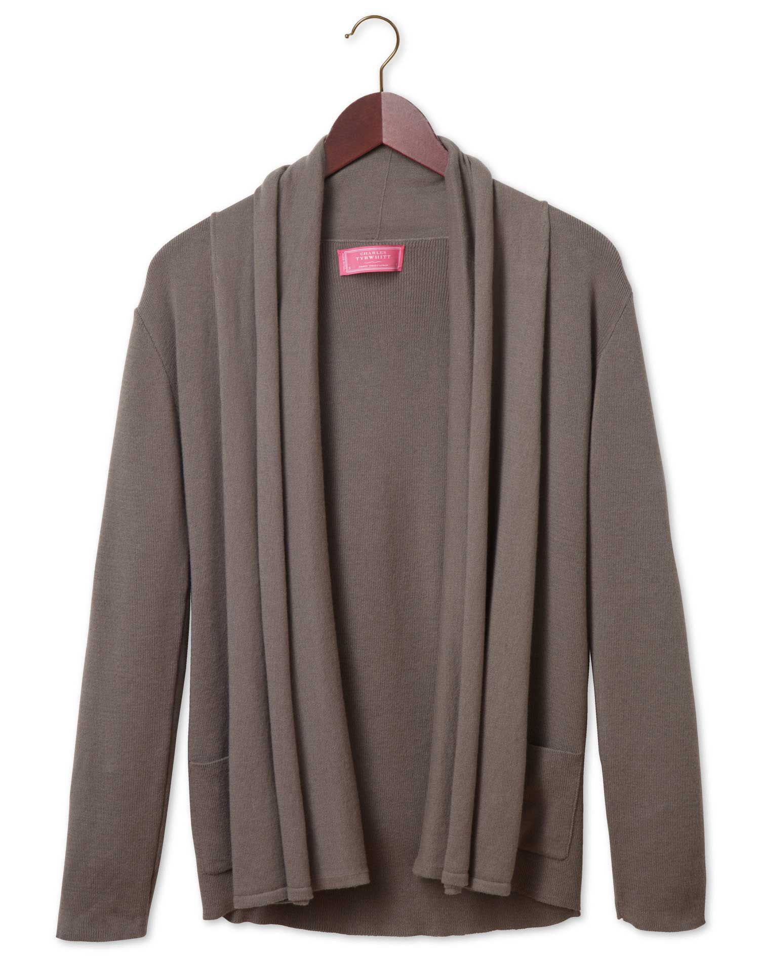 Women's brown cotton cashmere waterfall cardigan | Pullovers ...