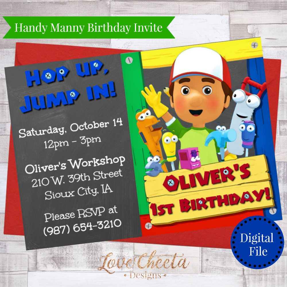 Handy Manny Birthday Invitation A La Obra Invitaciones