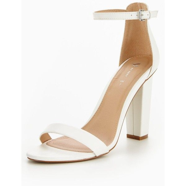 eca1ba615053 V By Very Petals Block Heeled Ankle Strap- White (£28) ❤ liked on Polyvore  featuring shoes