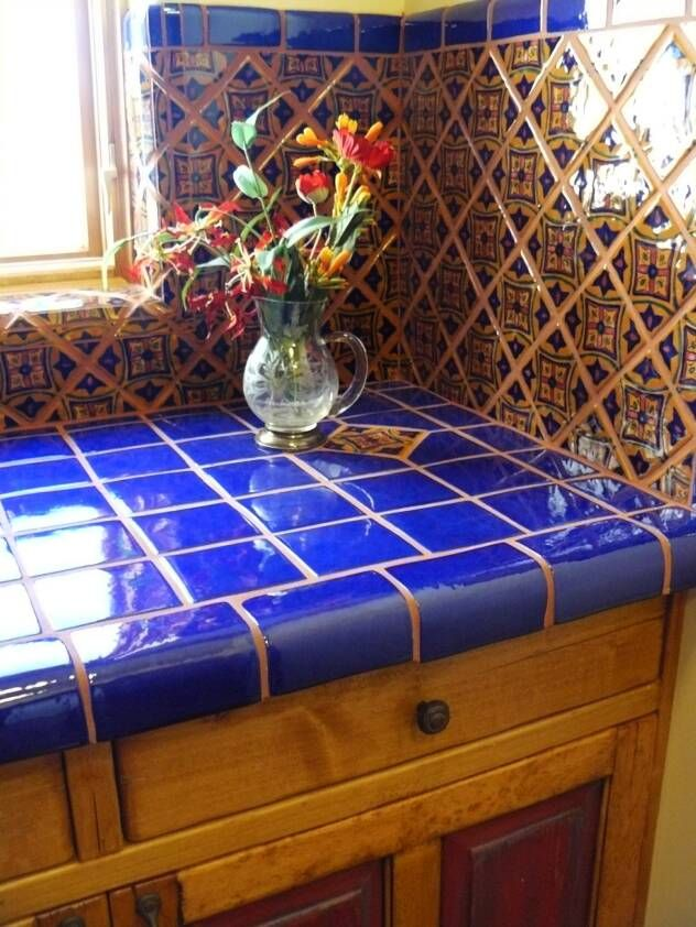 Pin By Hdi 19 On Southwest House With Images: Beautiful New Mexico Style! We Love These Bright, Contrasting Kitchen Counter Tops.