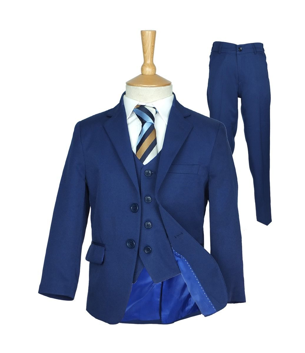 Boys Formal Blue Suit Italian Page Boy Wedding Prom Communion Night Blue Suits