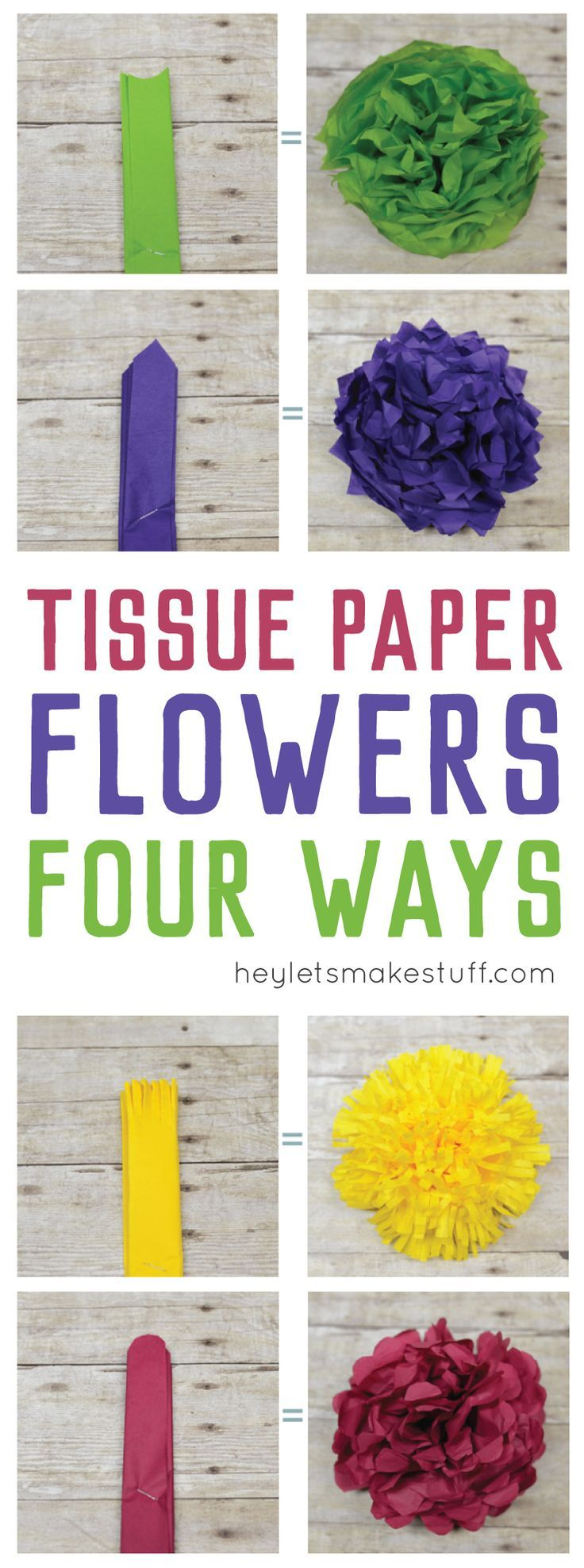 How To Make Tissue Paper Flowers Four Ways Pinterest Budget
