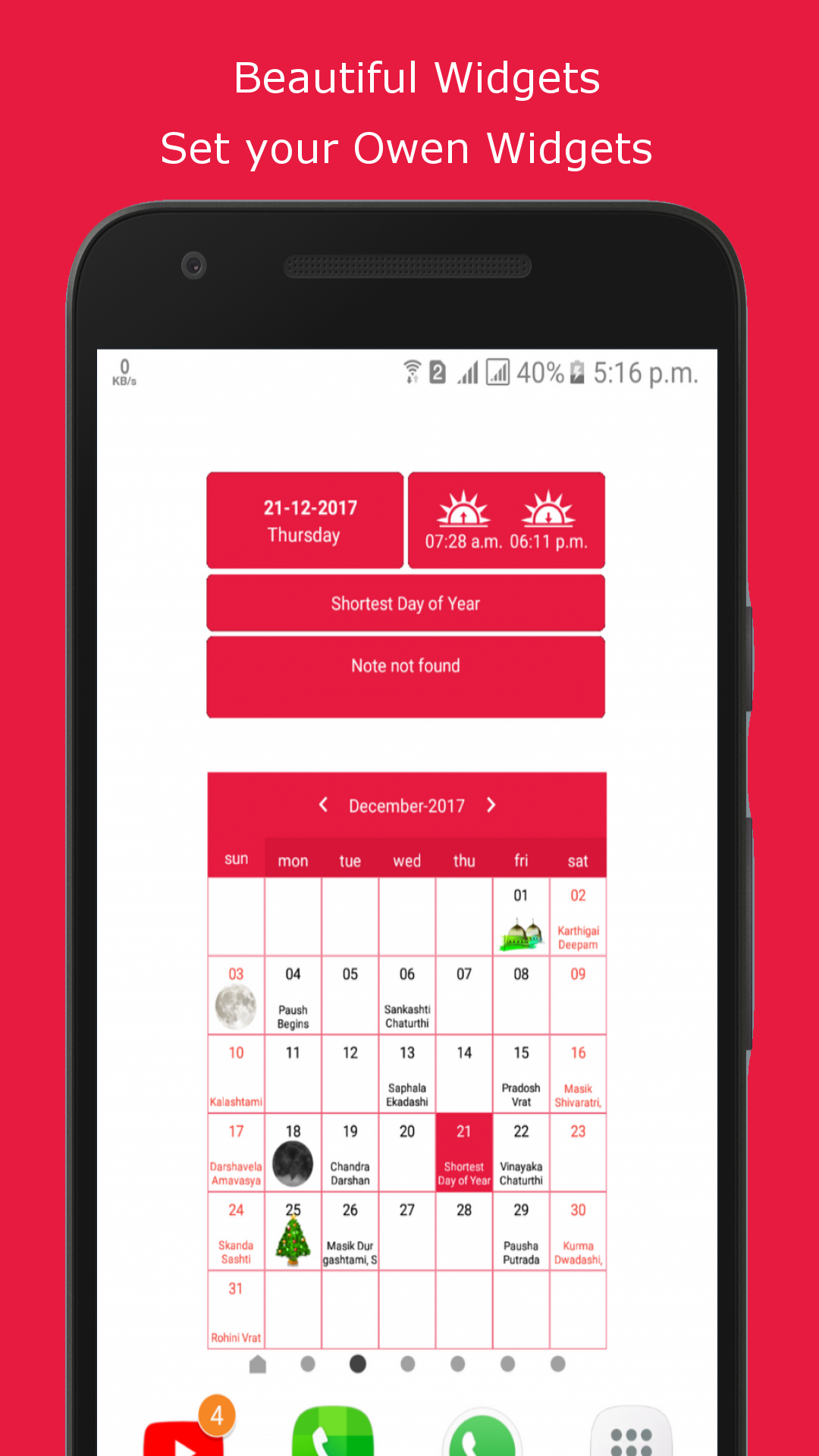 Android Calendar   Android calendar, Holiday planner ...