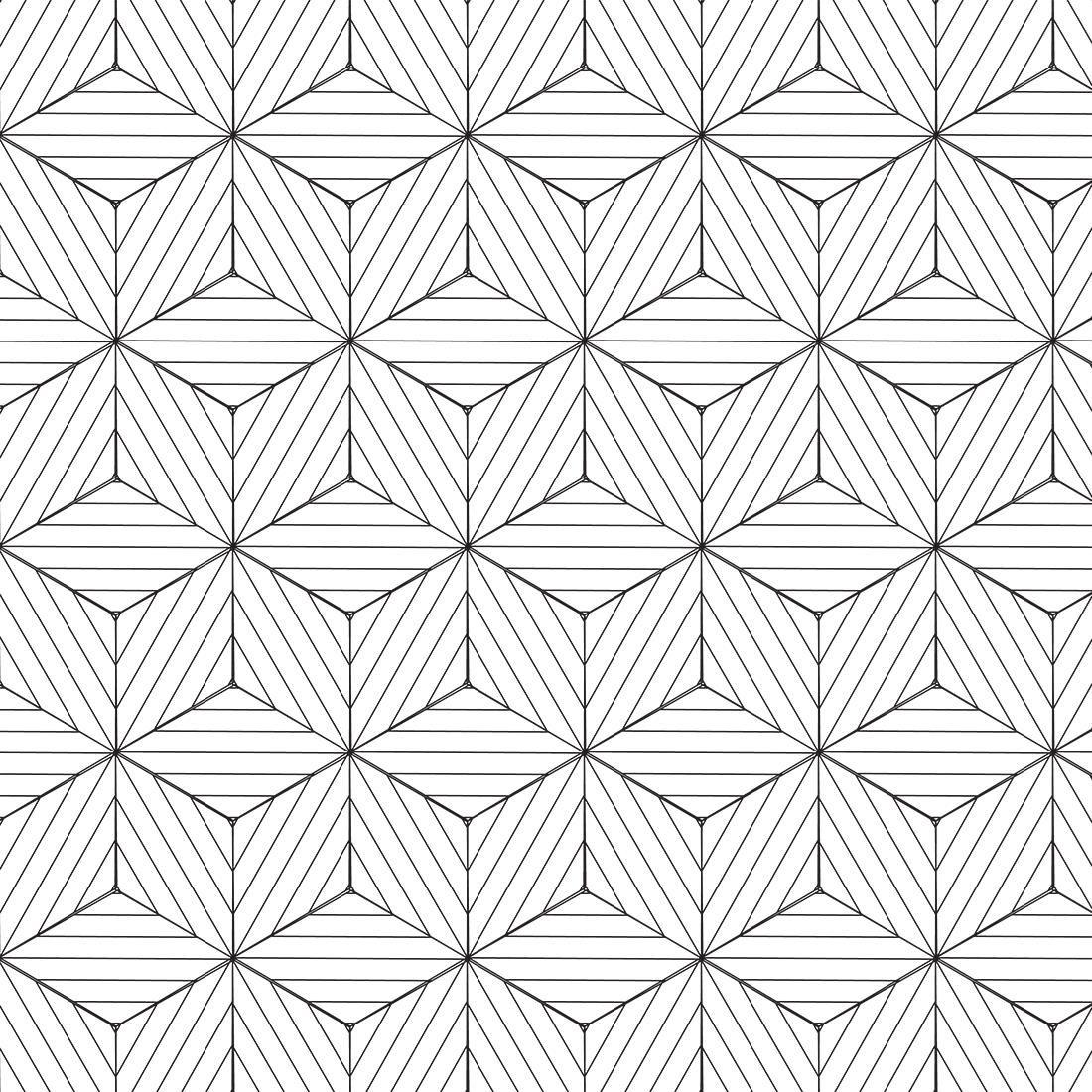 143520601 Papel de Parede Adesivo 3D Geométrico Branco e Preto 237661555 ...