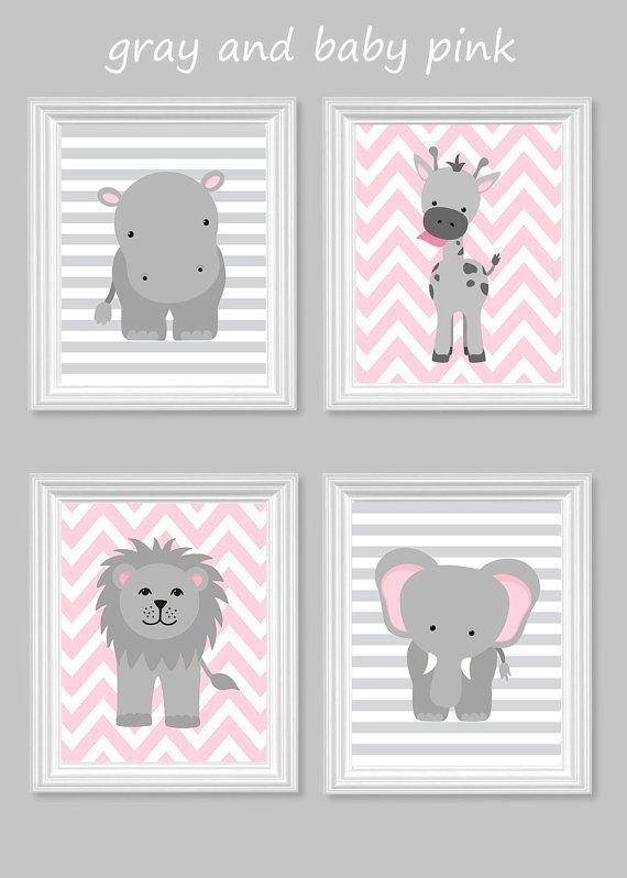 Kinderzimmer Grau Rosa zoo kindergarten dekor giraffe elefant hippo grau und rosa
