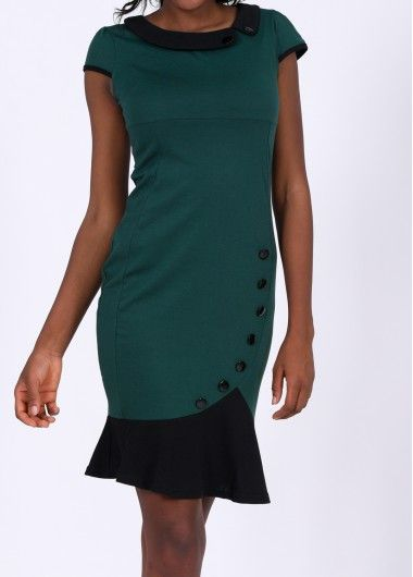 Cap Sleeve Color Block Sheath Dress - USD $26.69