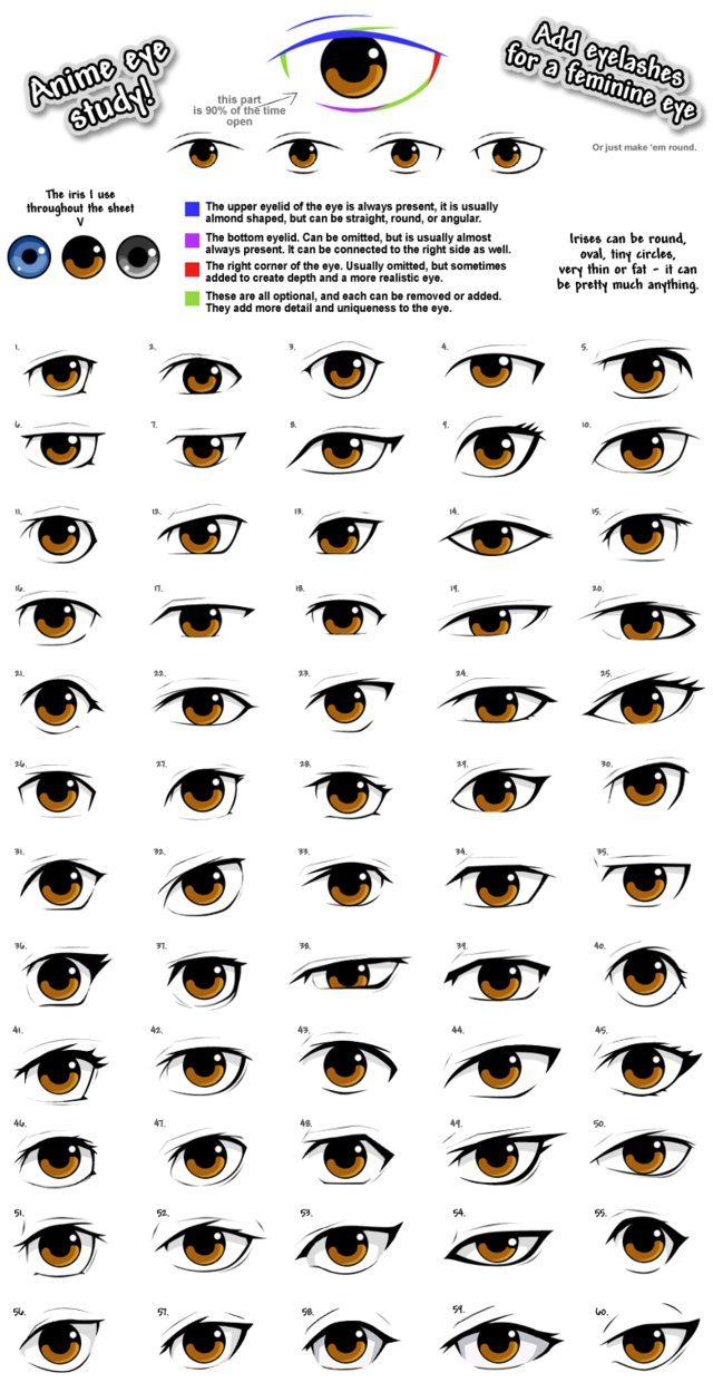 Practicing different anime eye styles. So here's 60 of