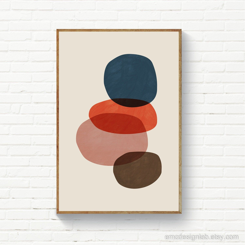 Abstract Circles Navy Burnt Orange Blush Mid Century Etsy Original Wall Art Art Wall Art Instant Download