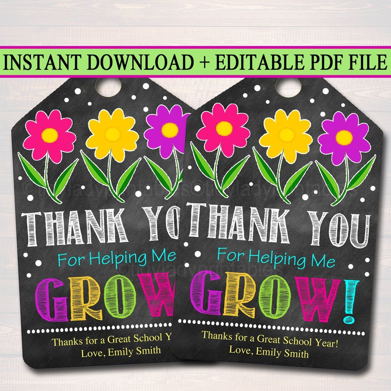Thank You For Helping Me Grow Appreciation Printable