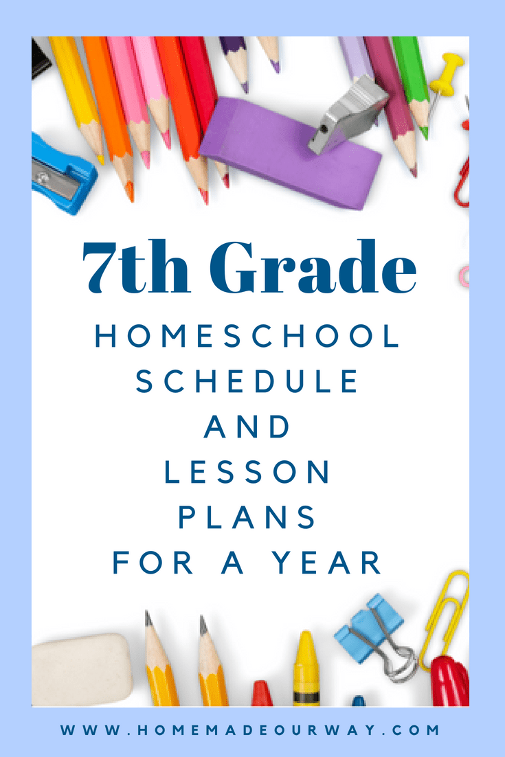 7th Grade Homeschool Schedule and Lesson Plan