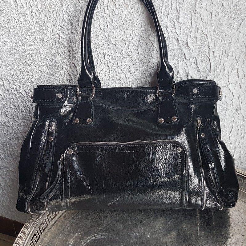 sac longchamp noir vernis