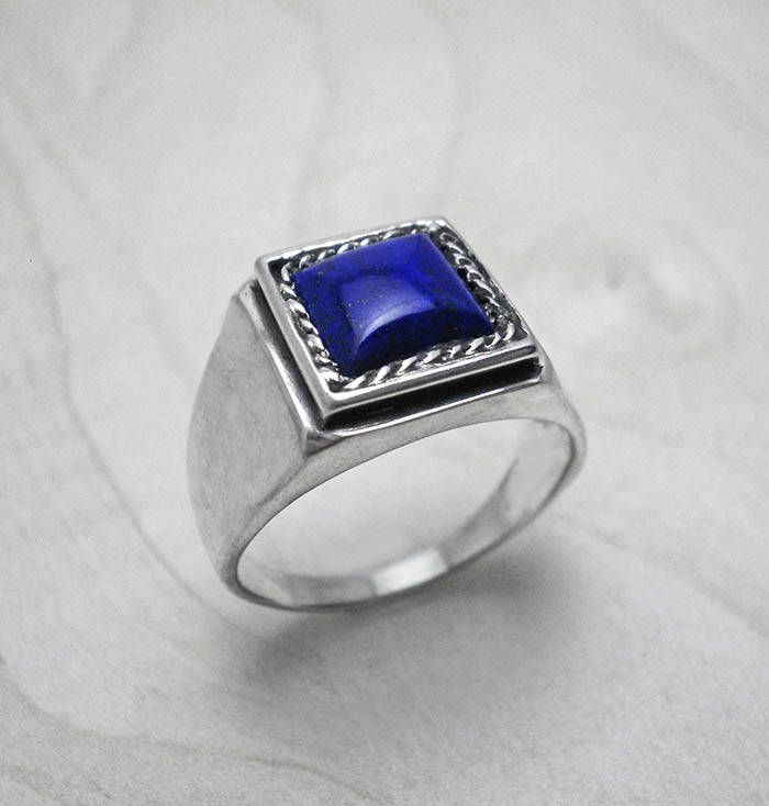 Lapis Lazuli Ring Silver Ring Man Signet Ring Mens Jewelry