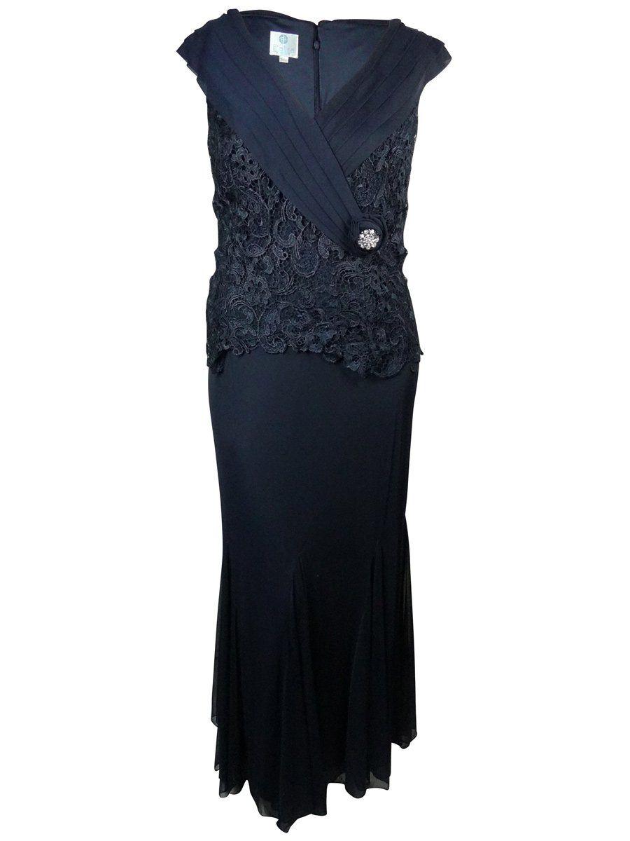 Royal blue lace wedding dress october 2018 Patra Womenus Pleated Shawl Brooch Detail Lace Chiffon Dress  Products