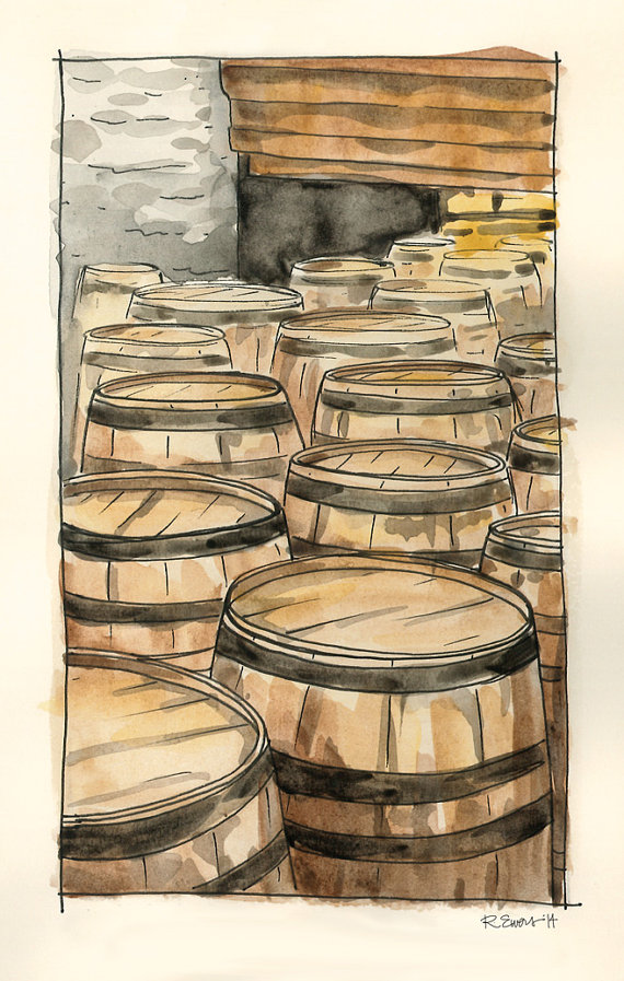 Woodford Reserve Distillery Barrels Watercolor by rewersdesigns. Bourbon artwork.