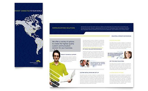 Global Communications Company Brochure Template by @StockLayouts - technology brochure template